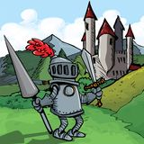 Cartoon knight in armour with a spear Royalty Free Stock Images