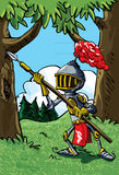 Cartoon knight in armour with a spear. He is in a forest Stock Images