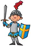 Cartoon knight in armour with a sword Royalty Free Stock Images