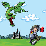Cartoon knight attacked by a dragon. A castle is in the distance Royalty Free Stock Photo