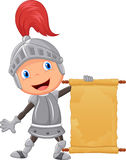 Cartoon knight boy holding  blank announcement Stock Photo