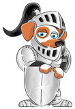 Cartoon knight dog. Royalty Free Stock Photo