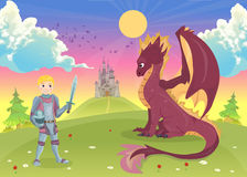 Cartoon knight with dragon. A castle in the background. Vector Stock Image