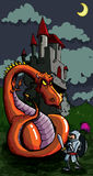 Cartoon of a knight facing a fierce dragon. A medieval castle in the background Stock Photo