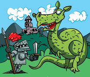 Cartoon of a knight facing a fierce dragon Royalty Free Stock Photos
