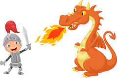 Cartoon knight with fierce dragon Stock Photography