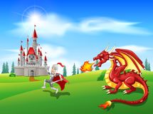 Cartoon knight with fierce dragon. Illustration Royalty Free Stock Images