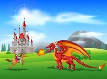 Cartoon knight with fierce dragon. Illustration Royalty Free Stock Image