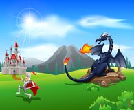 Cartoon knight with fierce dragon. Illustration Stock Photo