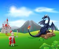 Cartoon knight with fierce dragon. Vector illustration Stock Photography