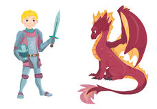 Cartoon knight with fierce dragon on white background. Vector Stock Photography