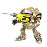 Cartoon knight holding a drill. Royalty Free Stock Images