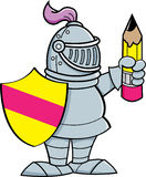 Cartoon knight holding a shield and a pencil Stock Images
