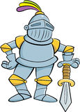 Cartoon knight leaning on a sword. Stock Photography