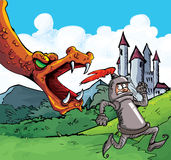 Cartoon of a knight running from a fierce dragon. Castle in the background Stock Photography