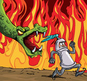 Cartoon of a knight running from a fierce dragon. Fire in the background Stock Photography