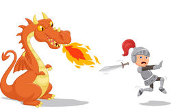 Cartoon of a knight running from a fierce dragon. Illustration of Cartoon of a knight running from a fierce dragon Royalty Free Stock Images