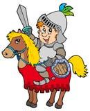Cartoon knight sitting on horse Stock Photography
