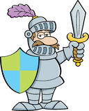 Cartoon knight with a sword and shield Stock Photos