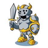 Cartoon knight With Swords Shield Helmet Army Uniform Royalty Free Stock Photos