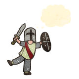 Cartoon knight with thought bubble Royalty Free Stock Photography