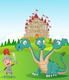 Cartoon knight with three headed dragon royalty free illustration