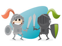 Cartoon knights fighting against each other. Clipart of knights fighting against each other Stock Photos