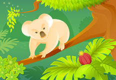 Cartoon koala on a jungle background Stock Photo