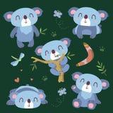Cartoon koala set Stock Photos