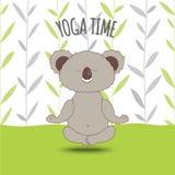Cartoon koala soar in lotus pose on bamboo background. vector illustration