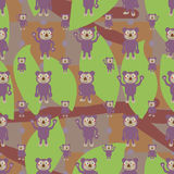 Cartoon koala symmetry branch leaf seamless pattern Stock Photo