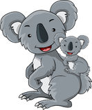 Cartoon koala was holding her child Stock Photography