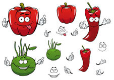 Cartoon kohlrabi, chili and red pepper vegetables Royalty Free Stock Image