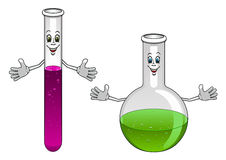 Cartoon laboratory test tube and flask characters Royalty Free Stock Photos