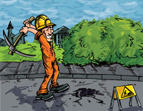 Cartoon of labourer using a pick axe. To dig a hole in the road Stock Photography