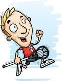 Cartoon Lacrosse Player Running. A cartoon illustration of a man lacrosse player running Royalty Free Stock Images