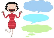 A cartoon lady. A lady talking or thinking with speech bubbles Stock Photos