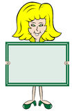 Cartoon lady holding message board. Blonde haired lady cartoon character holding up a message board with copy space to add your own text vector illustration