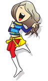 Cartoon lady jumping Royalty Free Stock Images