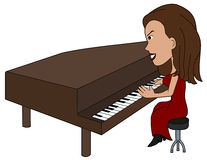 Cartoon lady pianist Royalty Free Stock Photography