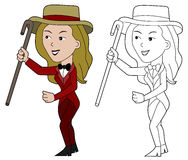 Cartoon lady presenter Royalty Free Stock Photo