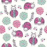 Cartoon ladybirds, vector seamless pattern Royalty Free Stock Image