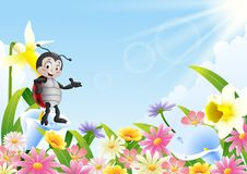 Cartoon ladybug in the flower field. Illustration of Cartoon ladybug in the flower field Stock Image