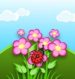 Cartoon Ladybug on flowers Royalty Free Stock Image