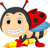 Cartoon ladybug holding pencil Royalty Free Stock Images