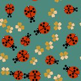 Cartoon ladybug seamless pattern 661 Royalty Free Stock Image