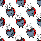 Cartoon ladybugs seamless pattern background Royalty Free Stock Image