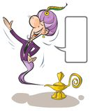 Cartoon Lamp Genie. Royalty Free Stock Photos