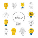 Cartoon lamp light bulb design flat vector illustration electric idea bright graphic solution concept. Cartoon lamp electric and bright cartoon interior flat Stock Photo