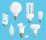 Cartoon lamps light bulb electricity design flat vector illustration set isolated electric icon object bright graphic Royalty Free Stock Photography